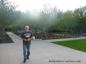 My patient husband on the walkways  as we went out the back of the Center.