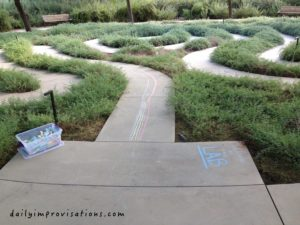 A low key maze with available sidewalk chalk.